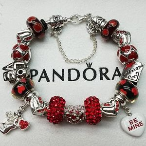 Authentic Pandora Bracelet with Euro Valentine cha